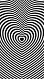 Abstracte gestreepte achtergrond met hartvormen stock illustratie