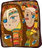 Abstracte gezichten royalty-vrije illustratie