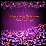 Abstracte glanzende bloemenpatroon violette achtergrond met installatiebloem Royalty-vrije Stock Afbeeldingen
