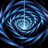 Abstracte glanzende 3d bloem op zwarte achtergrond Stock Afbeelding