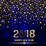 Abstracte glanzende dalende sterren op blauwe omringende vage achtergrond Nieuw jaar 2018 concept Kan als kaart worden gebruikt Stock Afbeelding