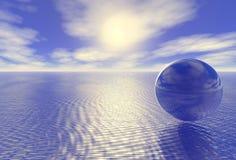 Abstracte glasbol over blauwe oceaan royalty-vrije illustratie