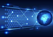 Abstracte globale technologie bedrijfsachtergrond, vectorillustratie Royalty-vrije Stock Afbeelding