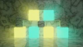 Abstracte gloeiende futuristische kubussen die op marmeren vloer zitten stock illustratie