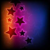 Abstracte gloeiende sterrenachtergrond Stock Afbeelding