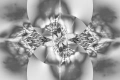 Abstracte gloeiende zwart-wit bloem op witte achtergrond Stock Fotografie