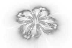 Abstracte gloeiende zwart-wit bloem op witte achtergrond Royalty-vrije Stock Afbeeldingen