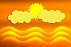 Abstracte Golven in de Oceaan, de Wolken en de Gele Zon op de Achtergrond van de Zonsonderganghemel stock illustratie