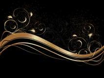 Abstracte golven met bloemenornament Royalty-vrije Stock Afbeelding
