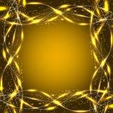 Abstracte golvenachtergrond Illustratie in Gele kleuren Stock Afbeeldingen