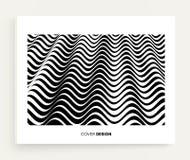 Abstracte golvende achtergrond Patroon met optische illusie Handboek, boekjes of brochuremodel Het malplaatje van het dekkingsont vector illustratie