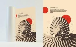 Abstracte golvende achtergrond Patroon met optische illusie Het malplaatje van het dekkingsontwerp Futuristische vectorillustrati vector illustratie