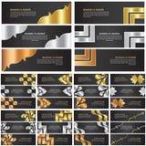 Abstracte goud, zilver en brons het ontwerpreeks van het bannermalplaatje Stock Foto