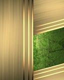 Abstracte gouden achtergrond met een groen tussenvoegsel Malplaatje voor ontwerp exemplaarruimte voor advertentiebrochure of aank stock illustratie