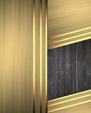 Abstracte gouden achtergrond met een houten tussenvoegsel Malplaatje voor ontwerp exemplaarruimte voor advertentiebrochure of aan royalty-vrije illustratie