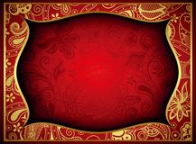 Abstracte Gouden en Rode Bloemenkaderachtergrond Royalty-vrije Stock Afbeelding