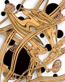 Abstracte Gouden en Zwarte Modern als achtergrond Stock Afbeelding
