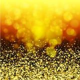 Abstracte gouden gloed Kerstmisachtergrond met gouden magische ster Stock Foto