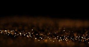 Abstracte gouden golvende gloeiende punten stock videobeelden