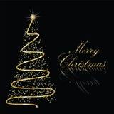 Abstracte gouden Kerstmisboom Stock Foto's