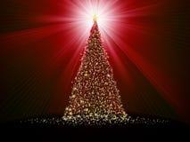 Abstracte gouden Kerstmisboom op rood. EPS 10 Stock Foto's