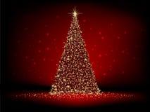 Abstracte gouden Kerstmisboom op rood. EPS 10 Royalty-vrije Stock Afbeelding