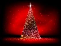 Abstracte gouden Kerstmisboom op rood. EPS 10 Stock Afbeelding