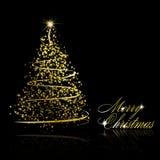 Abstracte gouden Kerstmisboom op zwarte achtergrond Royalty-vrije Stock Afbeelding