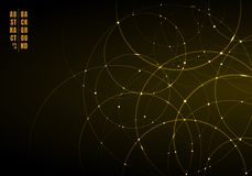 Abstracte gouden neoncirkels met licht die op zwarte achtergrond overlappen stock illustratie