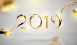 Abstracte Gouden 2019 Nieuwjaarachtergrond van moderne vloeibare grafische elementen Dynamische banner met stromende vormen vector illustratie