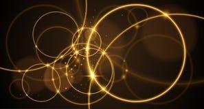 Abstracte gouden ringen op zwarte achtergrond royalty-vrije illustratie