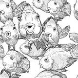 Abstracte grafiekvissen op achtergrond van golven Royalty-vrije Stock Afbeelding