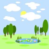 Abstracte grafische landschapsillustratie Royalty-vrije Stock Afbeeldingen