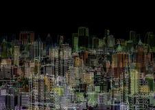 Abstracte grafische samenstelling - nachtmetropool Royalty-vrije Stock Foto