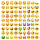 Abstracte Grappige Reeks van Emoticons Reeks van Emoji Royalty-vrije Stock Afbeeldingen