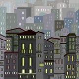 Abstracte grijze stadsmening in overzichten met vele huizen Stock Foto