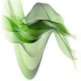 Abstracte groene golvende lijnen Kleurrijke vectorachtergrond Groene rookgolf Stock Foto