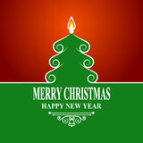 Abstracte groene Kerstmisboom op rode achtergrond Vrolijke Kerstmis en Nieuwjaar de Decoratiekaart van de Groetvakantie Kalligraf Royalty-vrije Stock Afbeeldingen