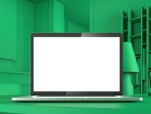Abstracte groene moderne werkruimte het 3d teruggeven Stock Afbeeldingen