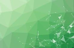 Abstracte Groene Veelhoekige Ruimteachtergrond met het Verbinden van Punten en Lijnen Geometrische Veelhoekige molecule als achte royalty-vrije illustratie
