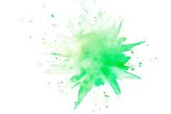 Abstracte groene waterverfplons Stock Afbeeldingen