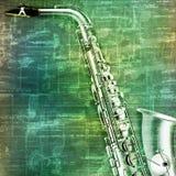Abstracte grungeachtergrond met saxofoon Stock Foto