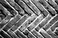 Abstracte grungeachtergrond - zwart-witte bakstenen muur Stock Foto
