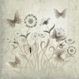 Abstracte grungeillustratie met bloemen Royalty-vrije Stock Foto