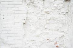 Abstracte grungy lege achtergrond Foto van witte lege bakstenen muurtextuur Spatie geschilderde oppervlakte horizontaal stock foto's