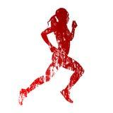 Abstracte grungy lopende vrouw vector illustratie
