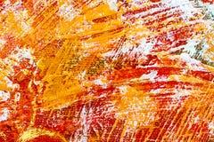 Abstracte hand geschilderde achtergrond met trillende rode en oranje bru Royalty-vrije Stock Foto's