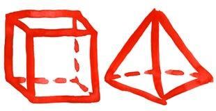 Abstracte hand getrokken waterverf geometrische vormen Stock Afbeelding