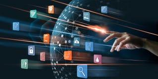 Abstracte Handvinger met verlichting wat betreft betalingen online royalty-vrije stock afbeeldingen