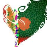 Abstracte hartvorm in rode en groene tinten Royalty-vrije Stock Afbeeldingen